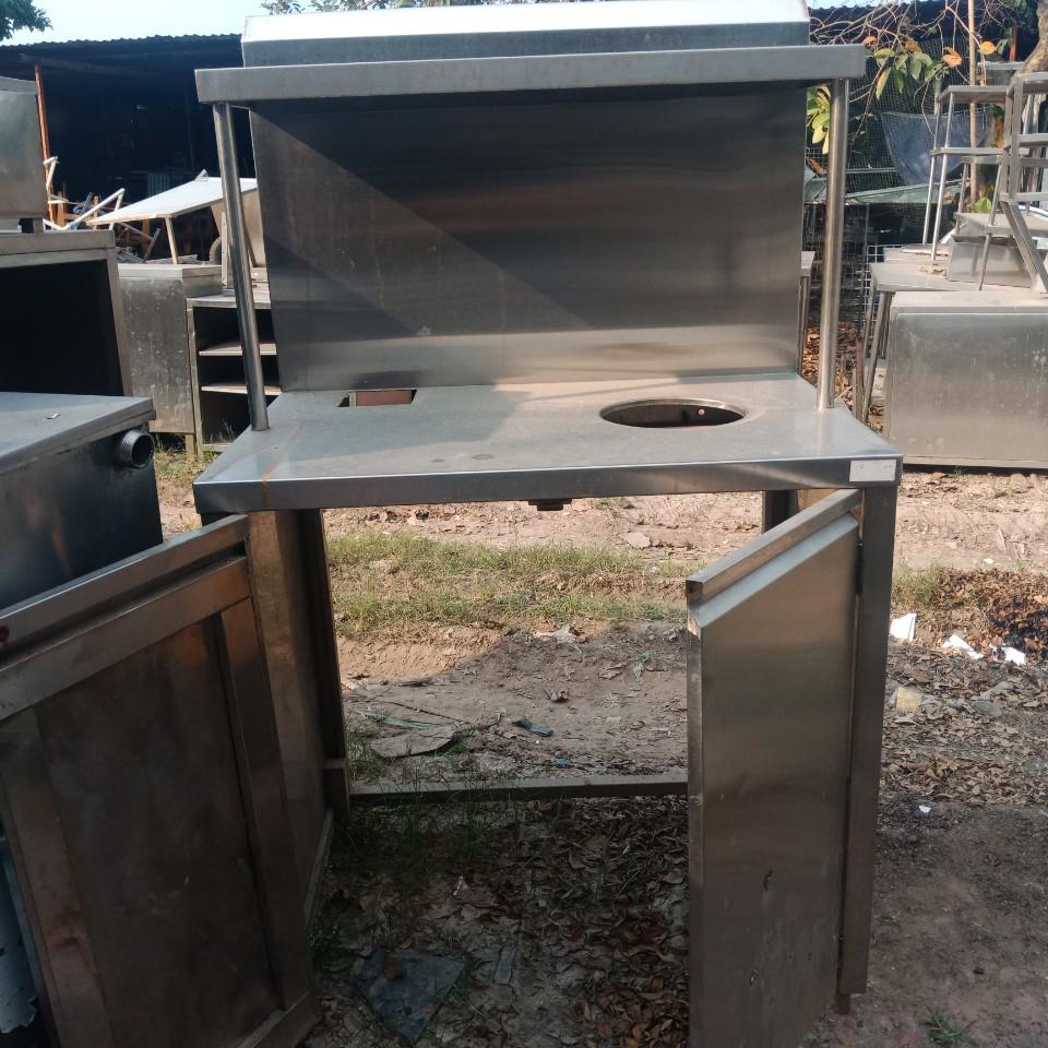 Bàn sơ chế inox cũ có hố rác 1266