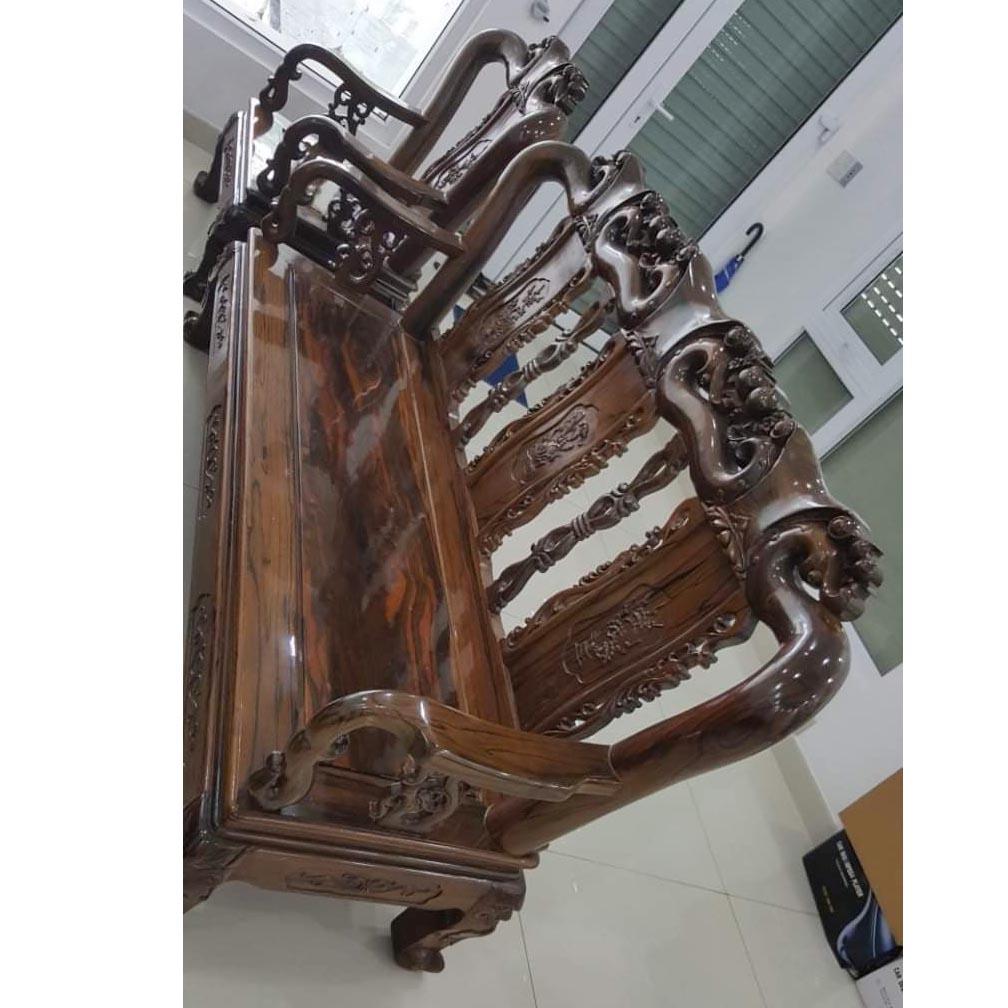 Bộ bàn ghế gỗ mun hoa SP000335