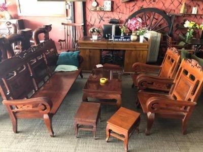 Bàn ghế salon phòng khách gia đình gỗ cẩm lai tay 8