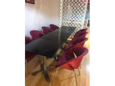 Bàn ghế cafe khung inox mặt nhựa cứng