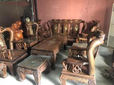 Thanh lý bộ bàn ghế gỗ muồng tay 12