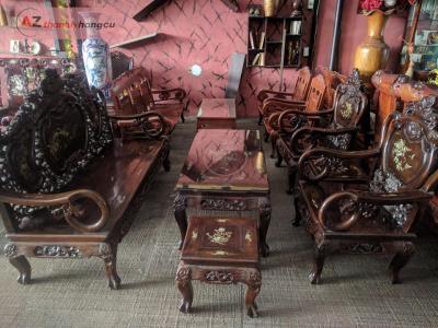 Salon gỗ muồng phòng khách tay tròn đẹp